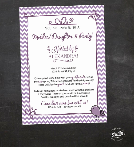 Thirty One Party Invitation Wording Unique Mother Daughter Purple Chevron Thirty E 31 Printable