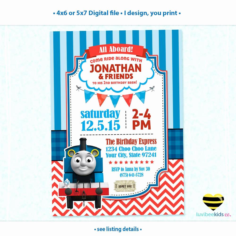 Thomas the Train Invitation Template Beautiful Birthday & Baby Shower Invitations by Luvibeekids Co