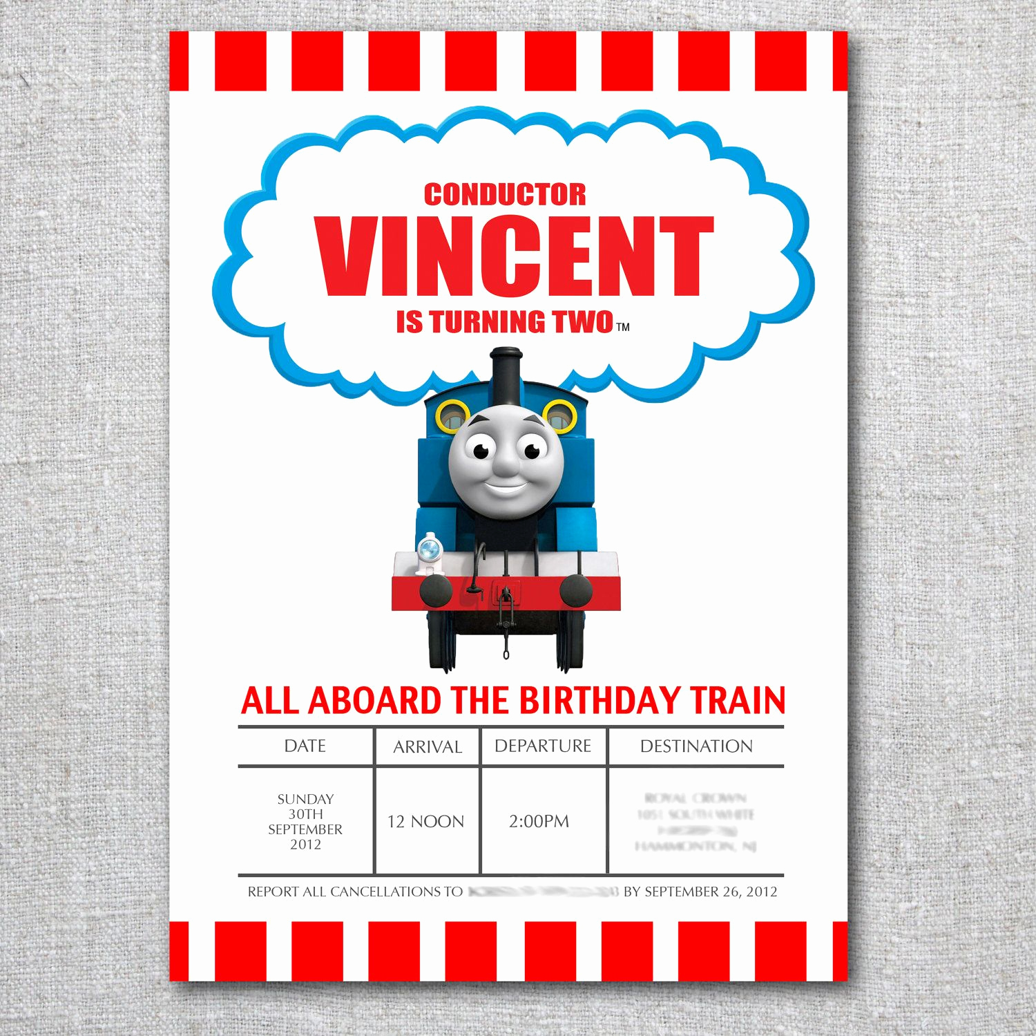 Thomas the Train Invitation Template New Template for Guest List Thomas Invitations