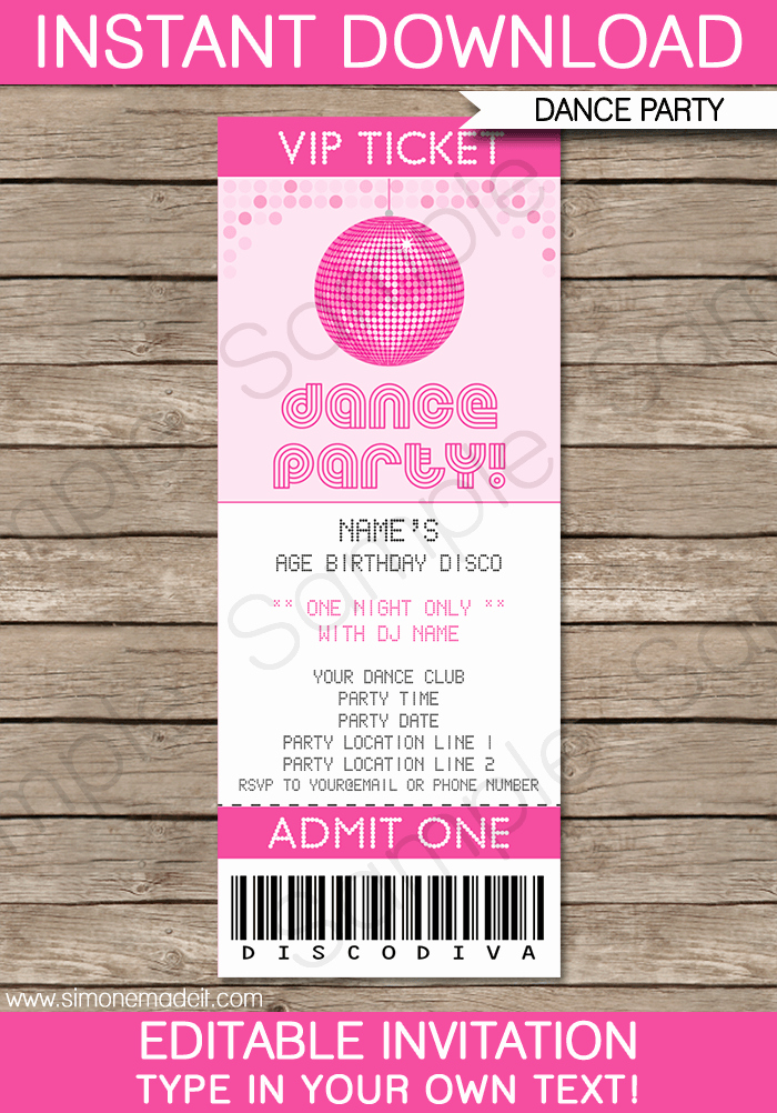 Ticket Invitation Template Free Awesome Dance Party Ticket Invitations Template – Pink