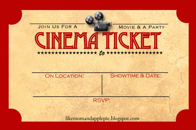 Ticket Invitation Template Free Awesome Like Mom and Apple Pie A Summer Movies Free Printables
