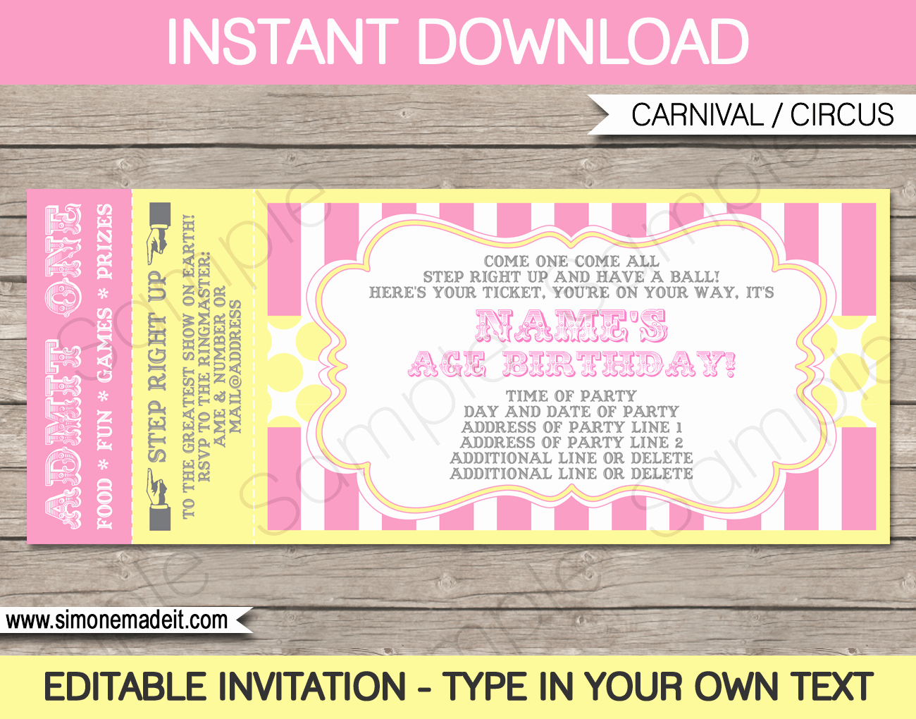 Ticket Invitation Template Free Beautiful Carnival Birthday Ticket Invitation Template