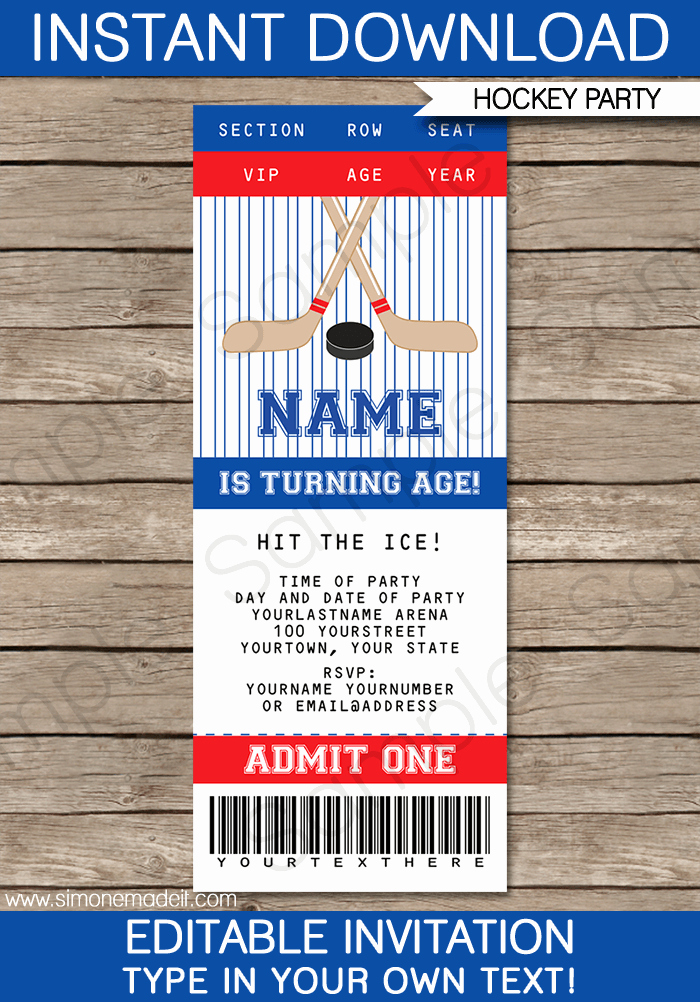 Ticket Invitation Template Free Best Of Hockey Ticket Invitations Birthday Party