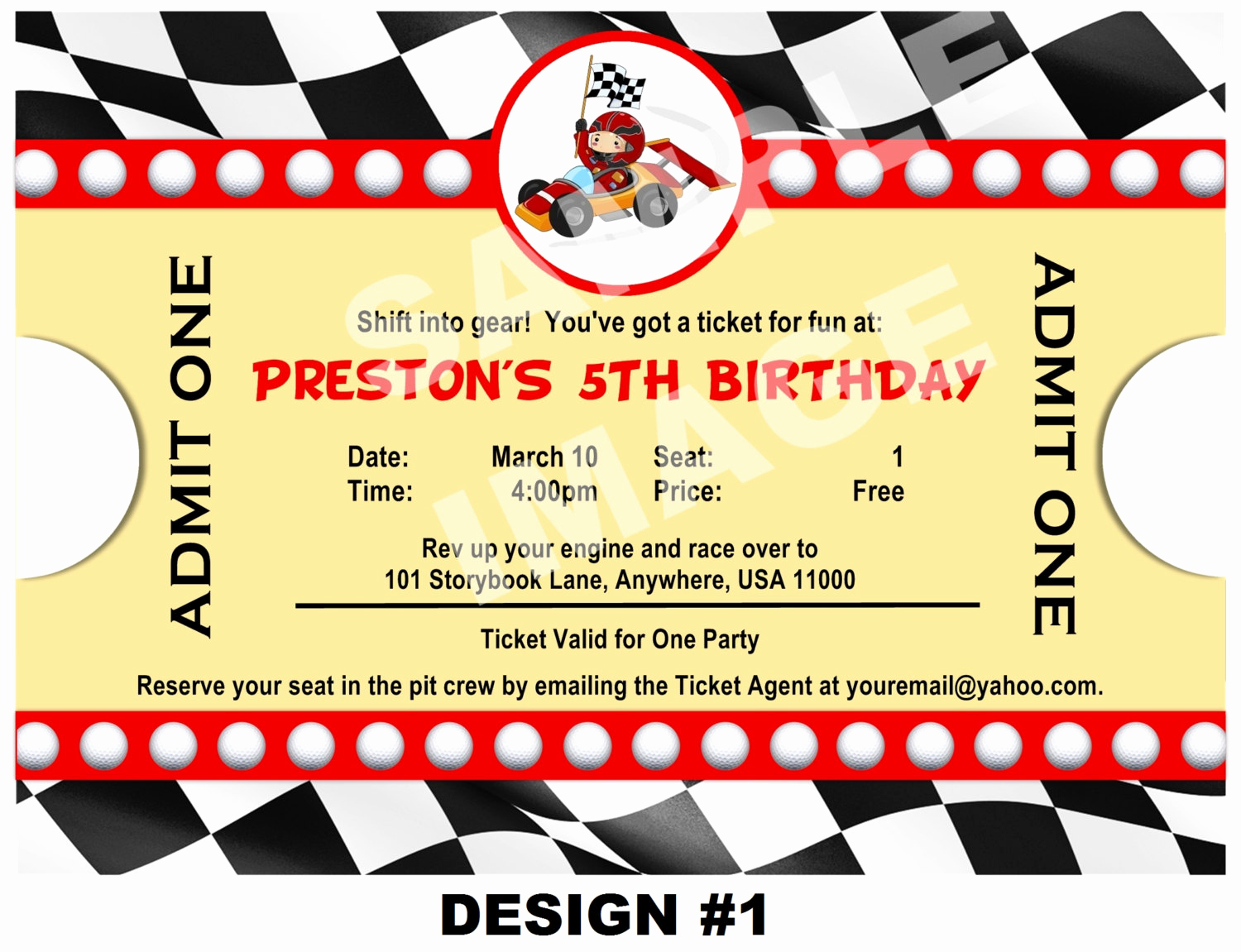 Ticket Invitation Template Free Elegant Race Car Invitation Ticket Invitation Party Printable