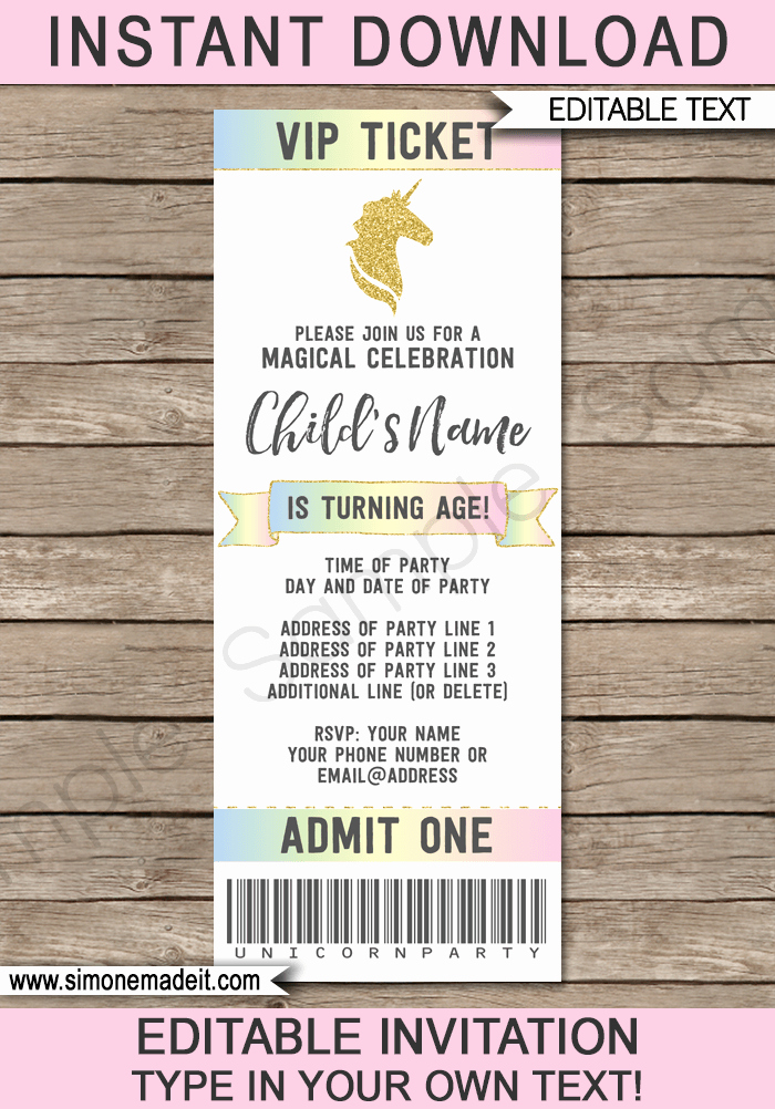 Ticket Invitation Template Free Fresh Unicorn Party Ticket Invitations Template