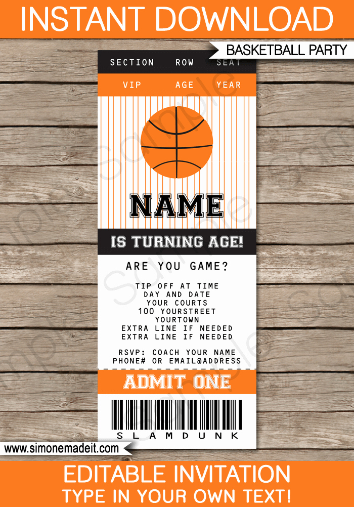Ticket Invitation Template Free Luxury Basketball Ticket Invitation Template