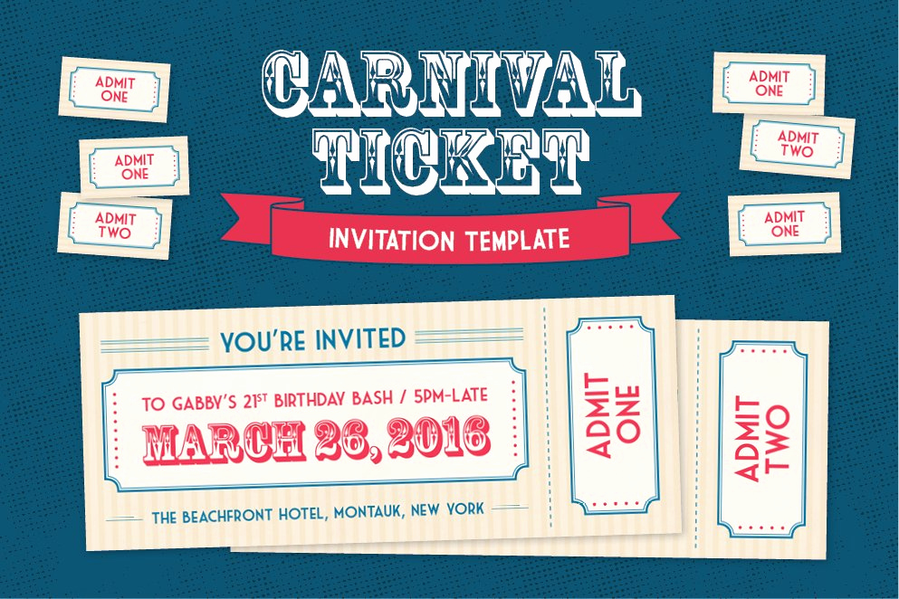 Ticket Invitation Template Free Luxury Carnival Ticket Invitation Template Invitation Templates