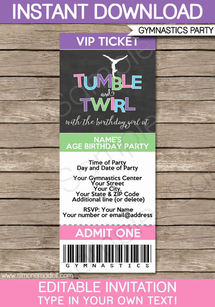 Ticket Invitation Template Free Luxury Gymnastics Party Ticket Invitations