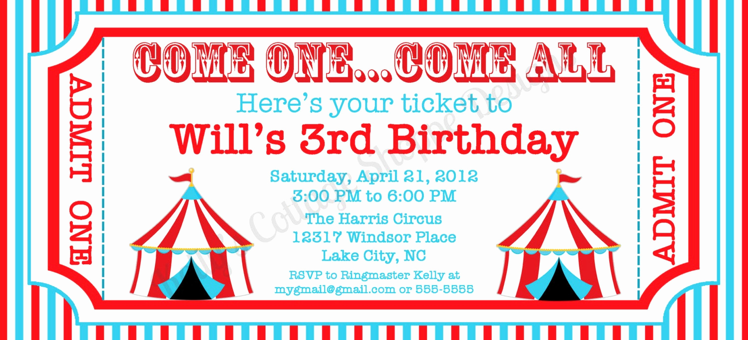 Ticket Invitation Template Free New Circus Ticket Invitation Custom Printable by