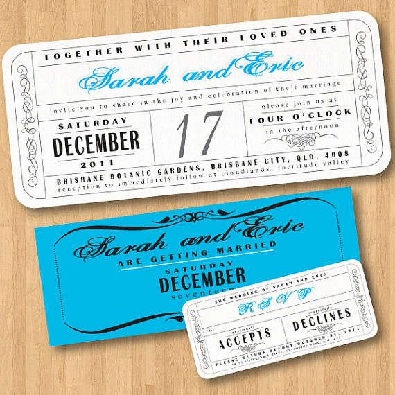 Ticket Invitation Template Free Unique Vintage Wedding Ticket Style Invitations Diy Set