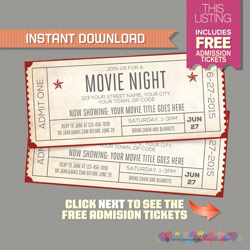 Ticket Invitation Templates Free Beautiful Blank Movie Ticket Invitation Template Free Download Aashe