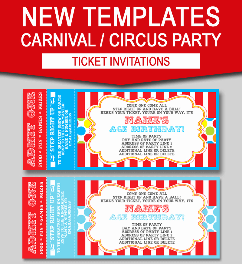 Ticket Invitation Templates Free Inspirational Editable Carnival Ticket Invitations