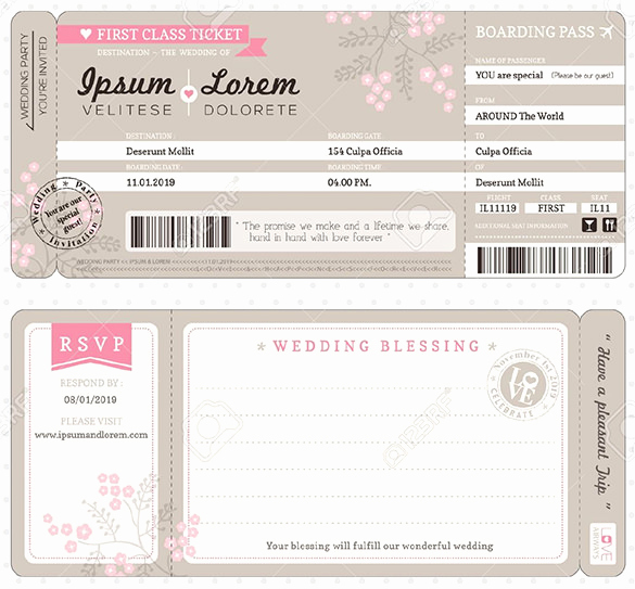 Ticket Invitation Templates Free Lovely 29 Boarding Pass Invitation Templates Psd Ai Vector