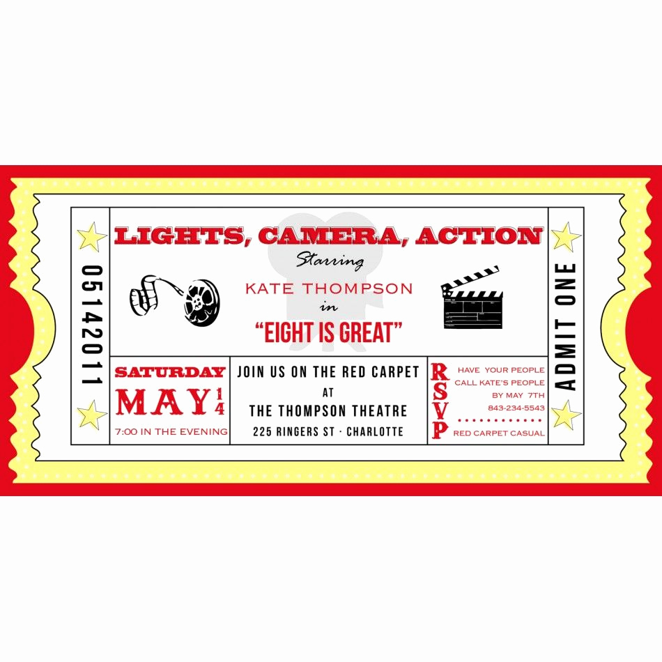Ticket Invitation Templates Free Lovely Movie Ticket Cinema Drive In Birthday Party Printable