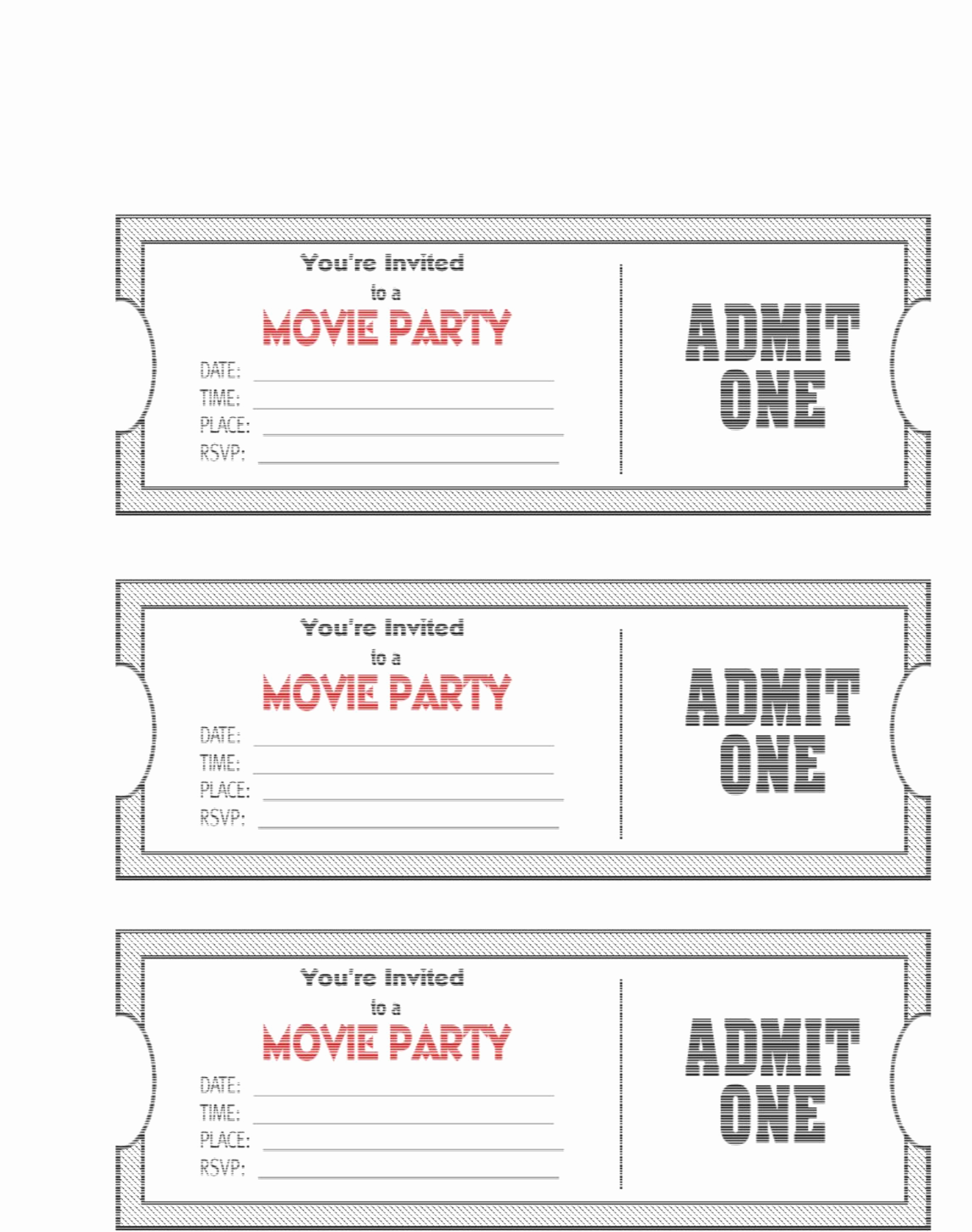 Ticket Invitation Templates Free Lovely Movie Ticket Template