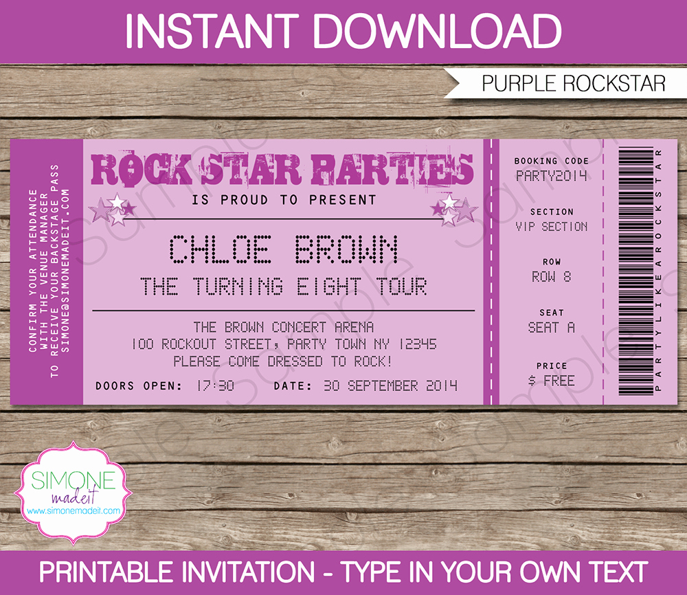 Ticket Invitation Templates Free Lovely Rock Star Party Ticket Invitations Template