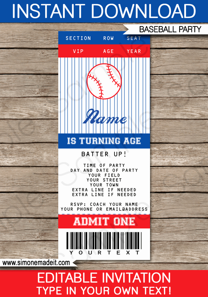 Ticket Invitation Templates Free Luxury Baseball Ticket Invitation Template