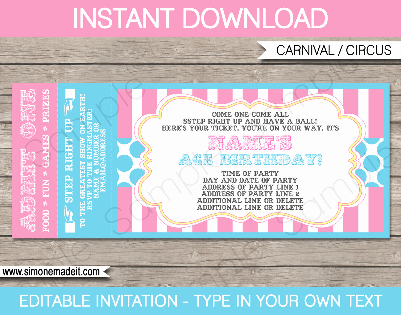 carnival ticket invitations template