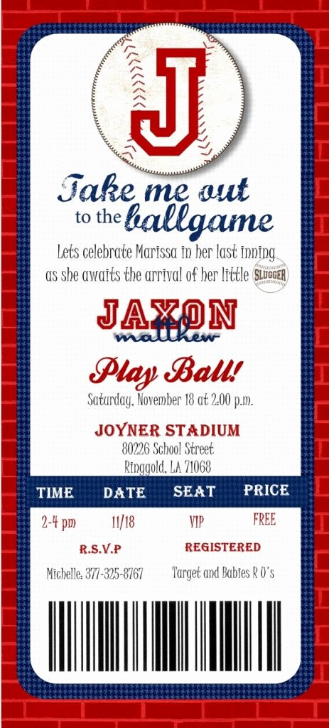 Ticket Invitation Templates Free New Baseball Ticket Baby Shower Invitations Template