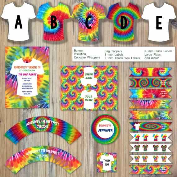 Tie Dye Invitation Template Free Awesome Instant Download Tie Dye Rainbow Color T Shirt Summer Craft