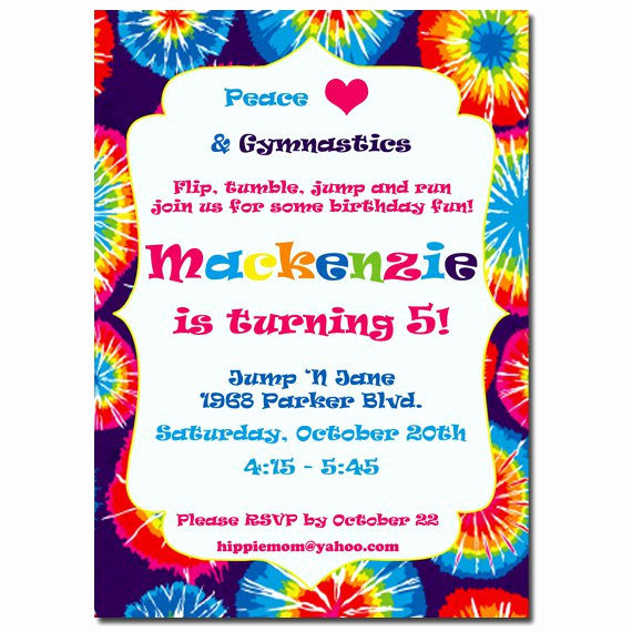 Tie Dye Invitation Template Free Awesome Tie Dye Birthday Invitations