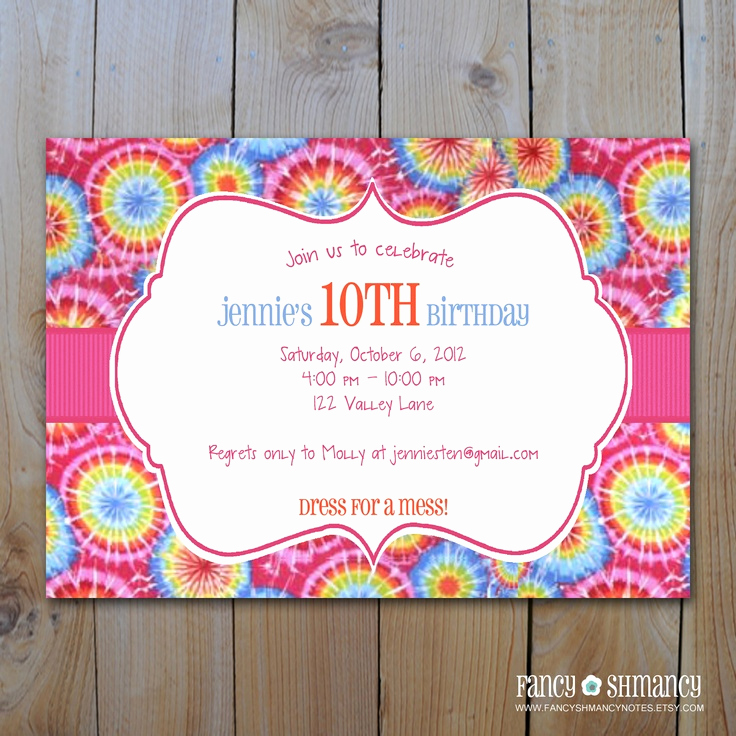 Tie Dye Invitation Template Free Beautiful Tie Dye Invitation Instant Download Printable Digital