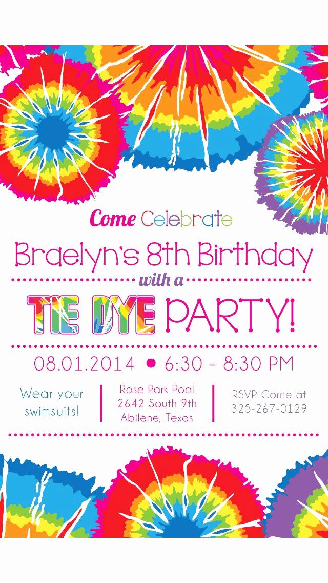 Tie Dye Invitation Template Free Beautiful Tie Dye Party Invitation Invites Galore In 2019