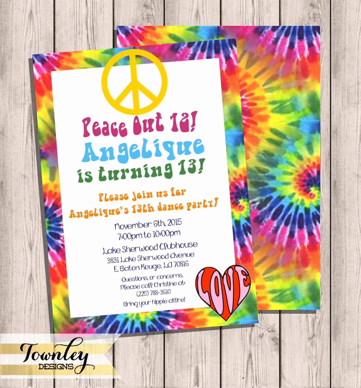 Tie Dye Invitation Template Free Best Of Tie Dye Birthday Party Invitation Groovy Birthday Party