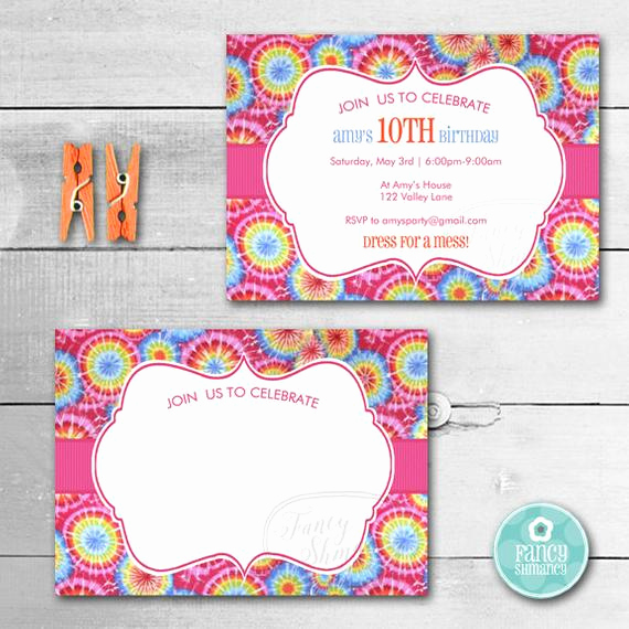 Tie Dye Invitation Template Free Best Of Tie Dye Invitation Instant Download by Fancyshmancynotes