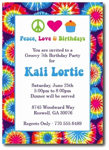 Tie Dye Invitation Template Free Best Of Tie Dye Invitations Hippie Chick by thepreppyladybug On