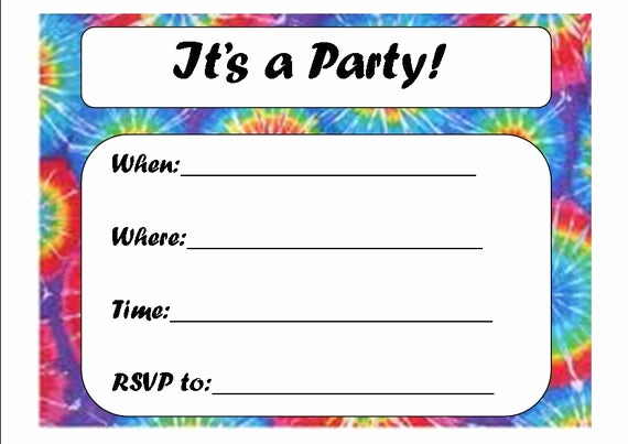 Tie Dye Invitation Template Free Best Of Tie Dye Party Invitation by Loveleewishes On Etsy