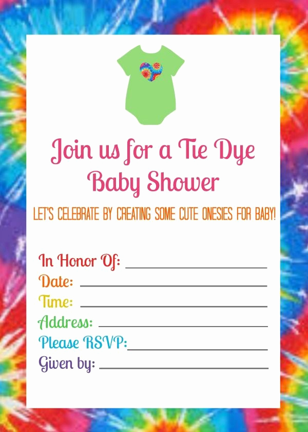 Tie Dye Invitation Template Free Elegant Summer Baby Shower with Tie Dye Esies