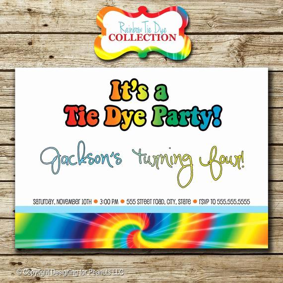 Tie Dye Invitation Template Free Fresh Rainbow Tie Dye Birthday Party Invitation by