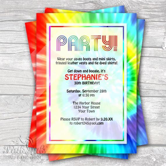 Tie Dye Invitation Template Free Fresh Tie Dye Retro 1960 S Editable Pdf Party Invitation