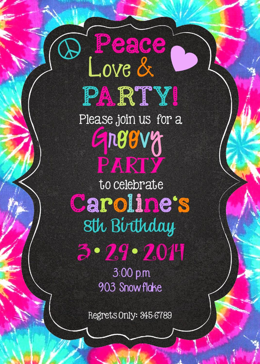 Tie Dye Invitation Template Free Lovely Peace Love Party Birthday Invitations Printable or Digital