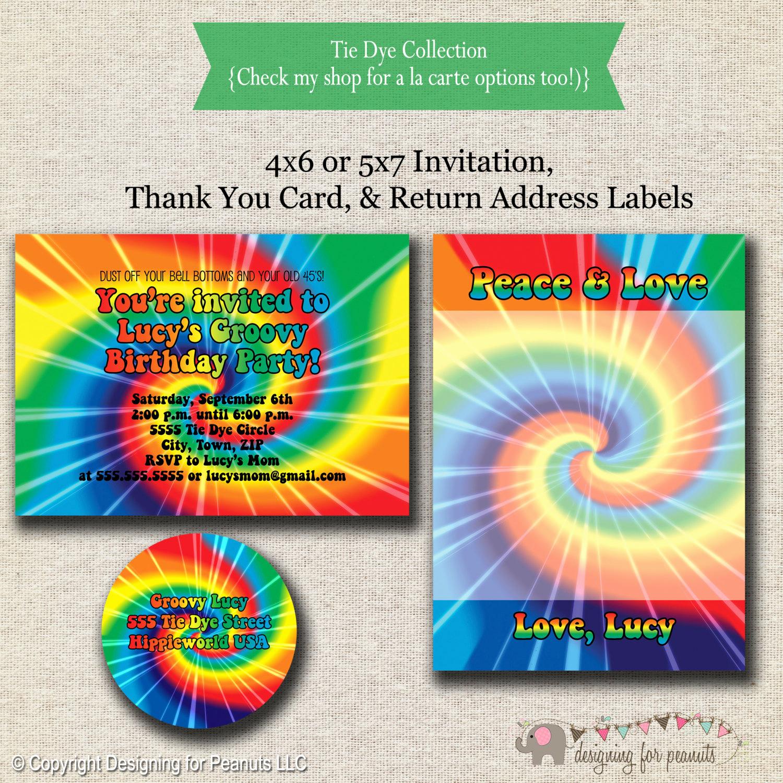 Tie Dye Invitation Template Free Luxury Tie Dye Invitation Thank You Card Return Address Labels