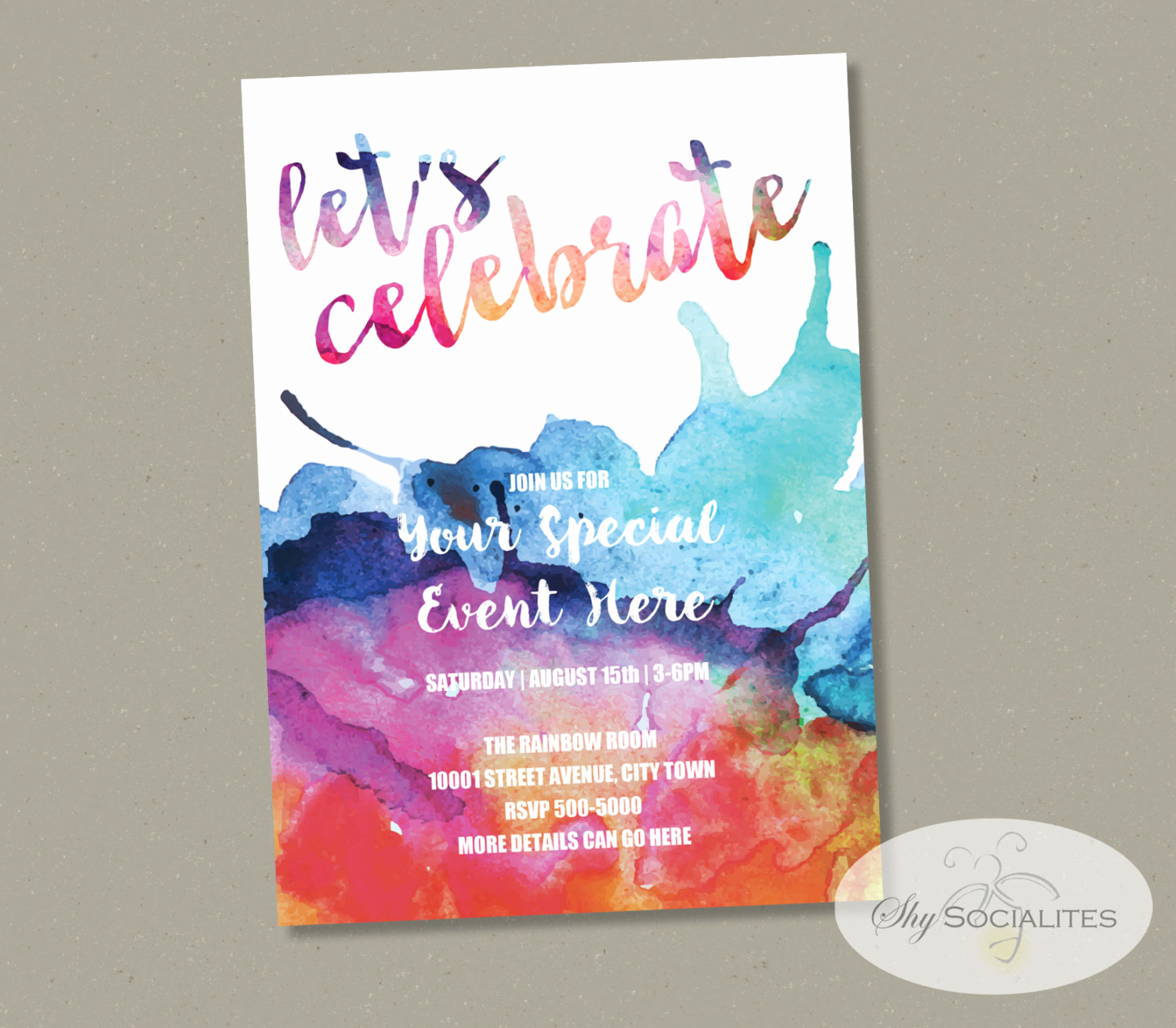 Tie Dye Invitation Template Free New Rainbow Watercolor Invitation Tie Dye Colorful Any event