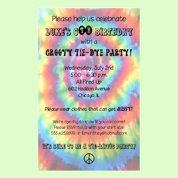 Tie Dye Invitation Template Free Unique Free Printable Tie Dye Birthday Party Invitations Template