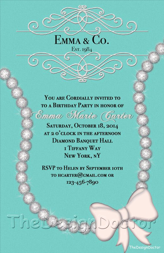 Tiffany and Co Invitation Template Awesome Sparkling Diamond Designer Inspired Birthday Invitaton