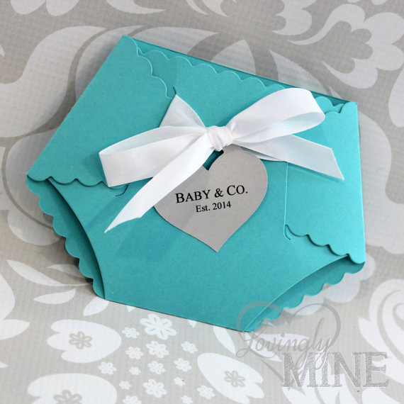 Tiffany and Co Invitation Template Best Of Deluxe Diaper Shape Baby Shower Invitation Set Of 10 Light