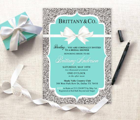 Tiffany and Co Invitation Template Best Of Personalized Tiffany Party Invitation Printed or Printable