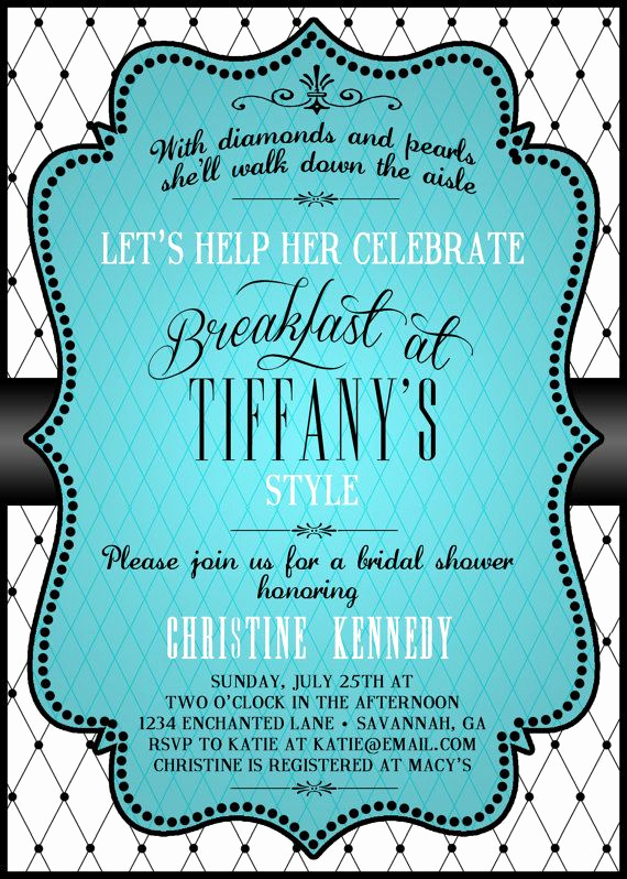 Tiffany and Co Invitation Template Inspirational Breakfast at Tiffanys Bridal Shower Invitation Tiffany