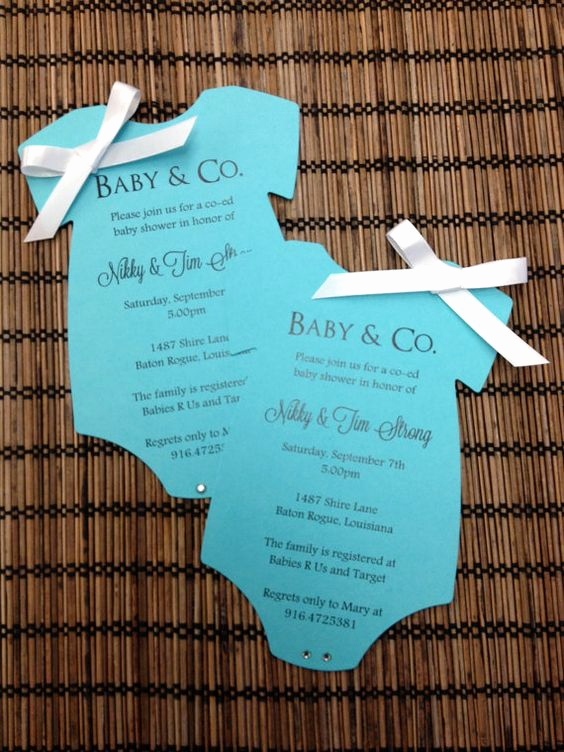 Tiffany and Co Invitation Template Lovely Baby & Co Tiffany Inspired Esie Baby Shower