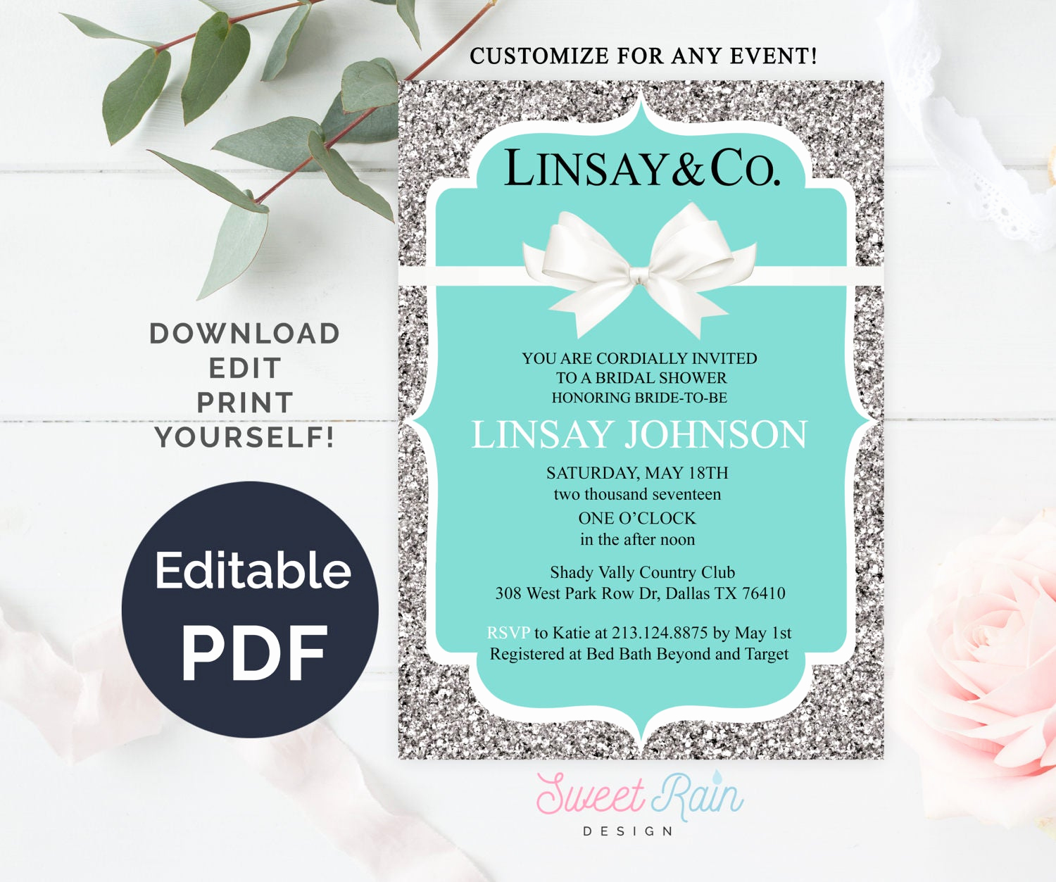 Tiffany Baby Shower Invitation Awesome Personalized Tiffany Invitation Template Breakfast Tiffanys