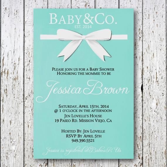 Tiffany Baby Shower Invitation Beautiful Baby and Co Baby Shower Invitation Tiffany by