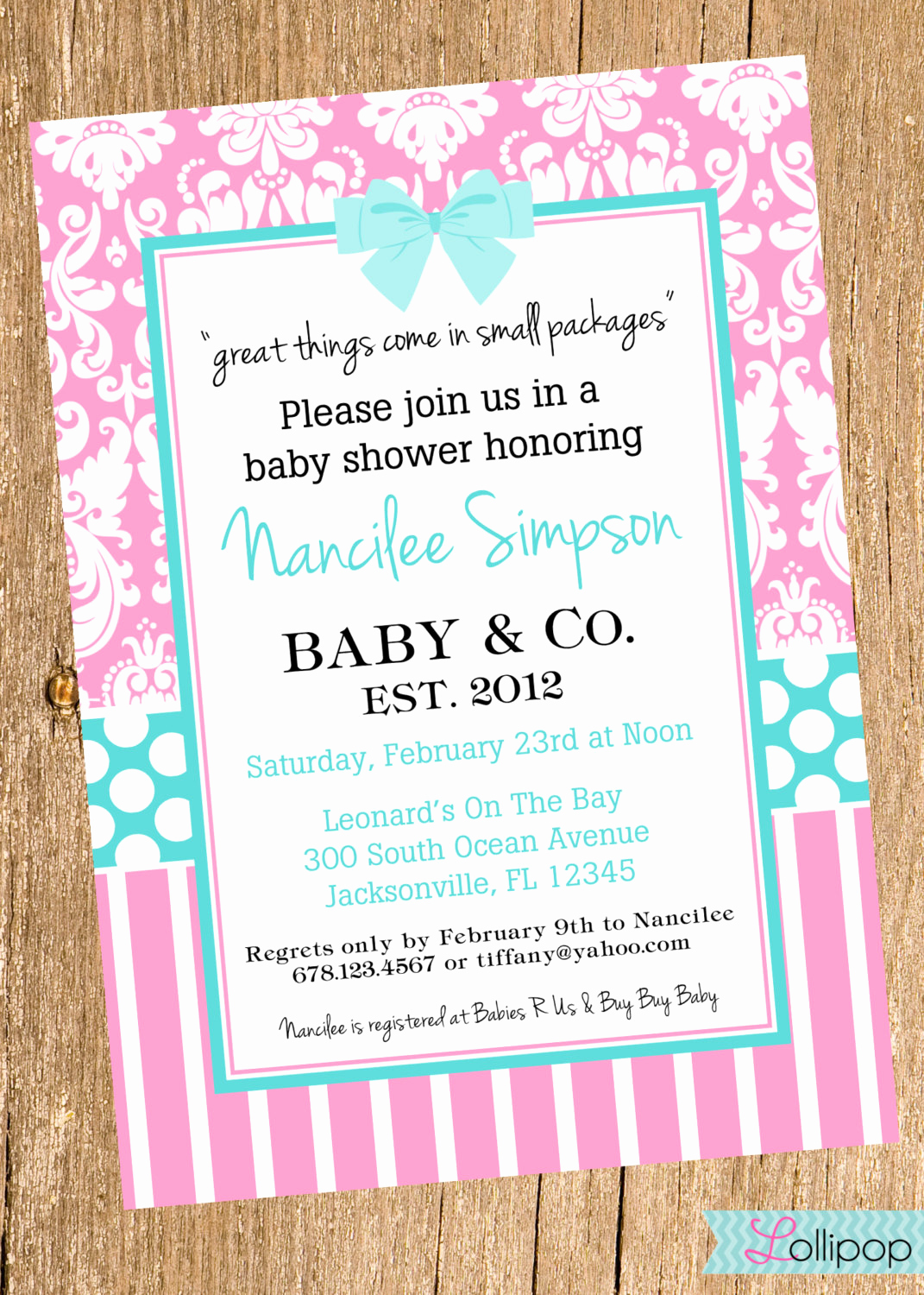 Tiffany Baby Shower Invitation Lovely Baby Shower Printable Invitation Personalized Blue by
