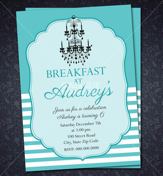 Tiffany Baby Shower Invitation New Breakfast at Tiffany S Birthday Invitation Girl Baby