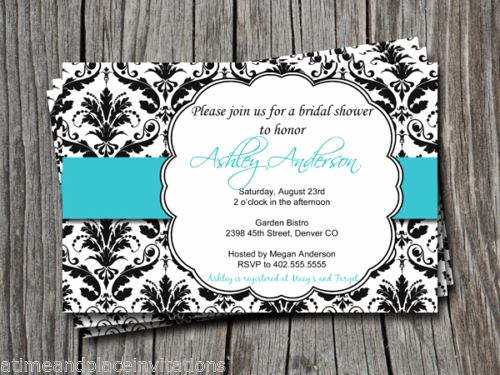 Tiffany Blue Baby Shower Invitation Fresh Details About Black Damask Tiffany Blue Teal Turquoise