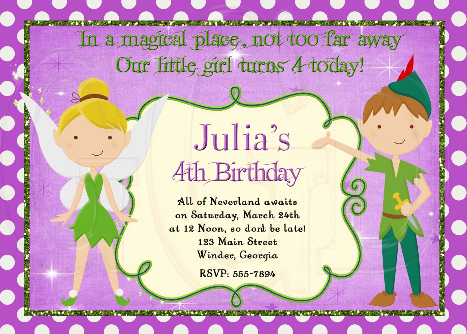 Tinkerbell Invitation Template Free Best Of Peter Pan and Tinkerbell Inspired Birthday Invitation Digital