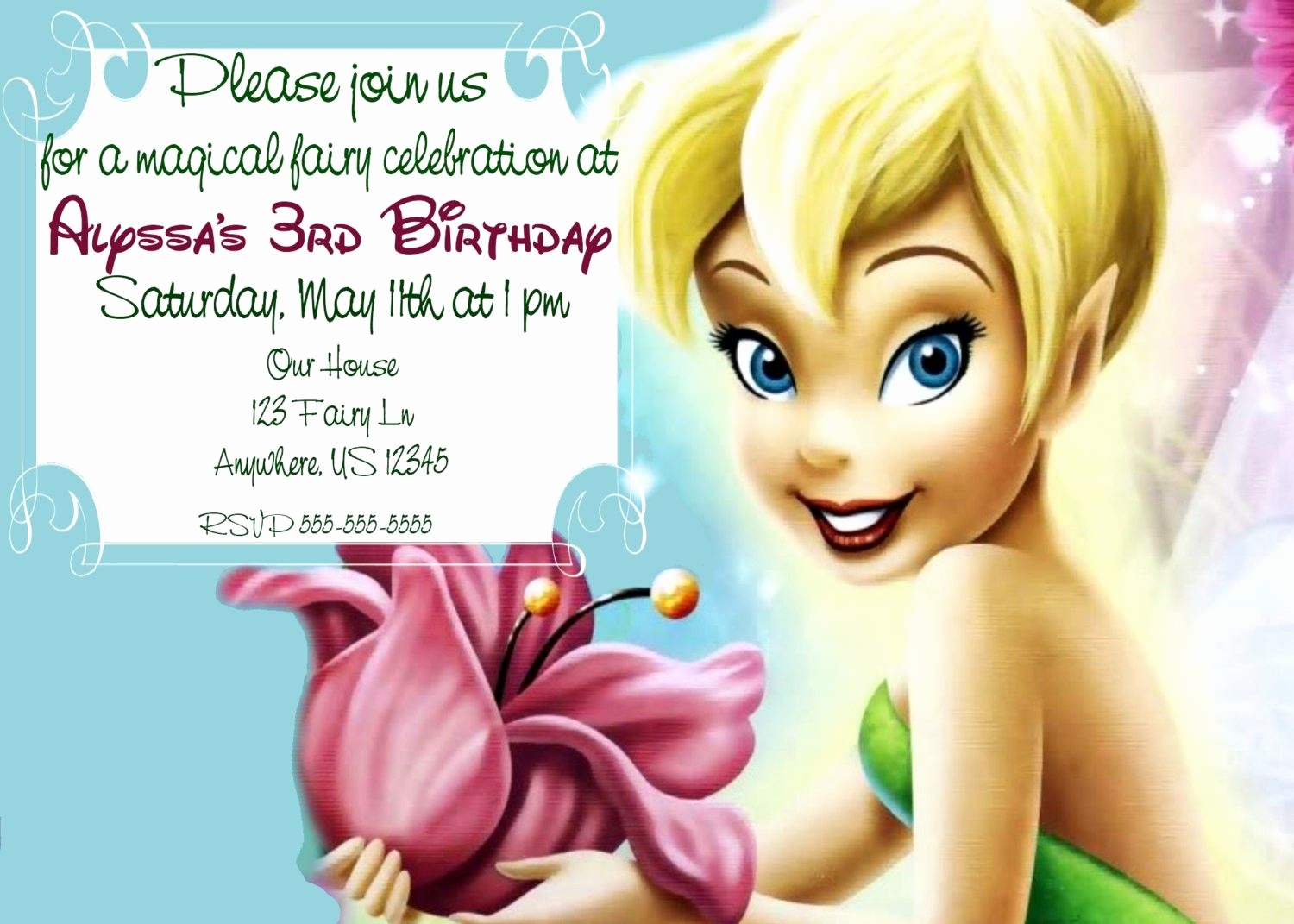 Tinkerbell Invitation Template Free Best Of Tinker Bell Invitations Templates Free